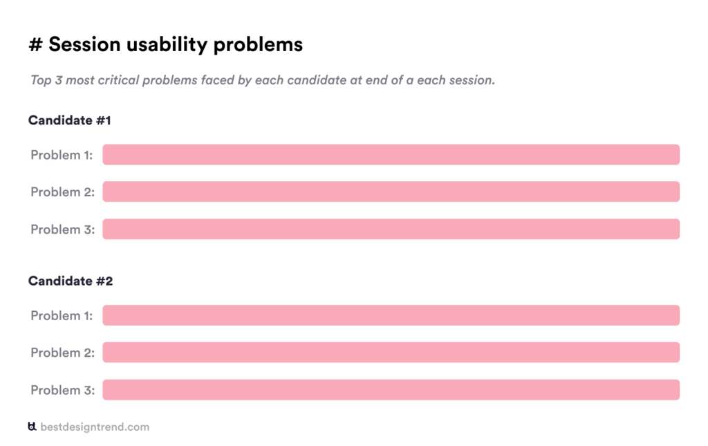 top three usability problems faced by candidates