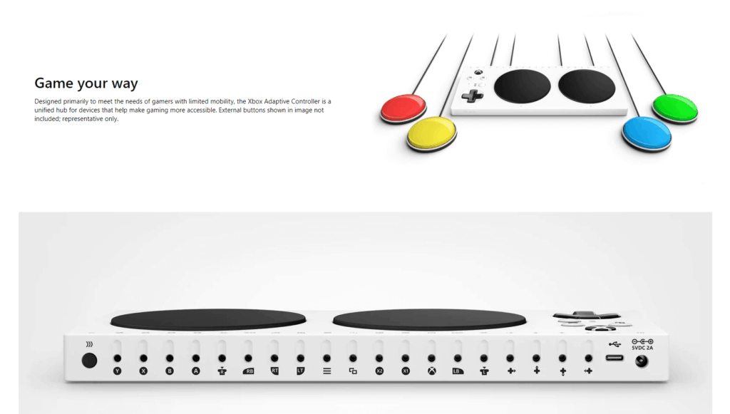 microsoft adaptive controller is a good exxample of accessibility in product design