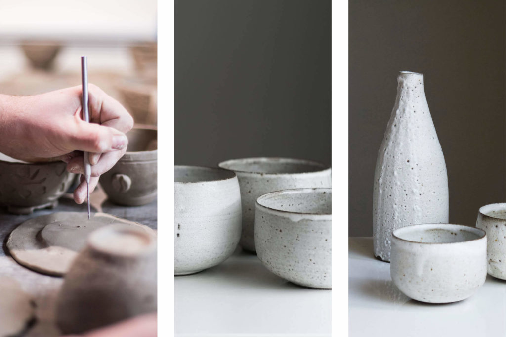 wabi-sabi example: imperfections in handcrafted items like pottery