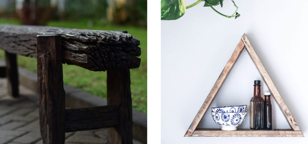 using old weathered wood for furniture in wabi-sabi interior design