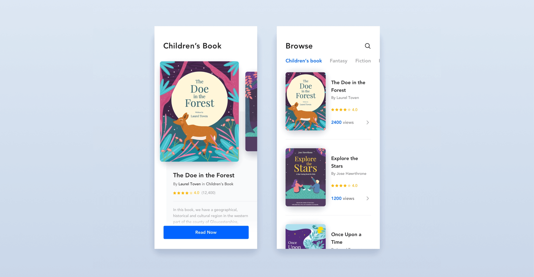 Design UI for a children's book reading application