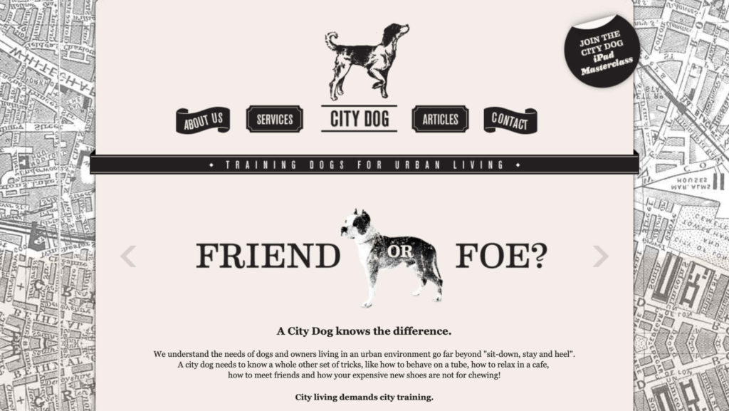 symmetrical balance with alignment example: city dog home page
