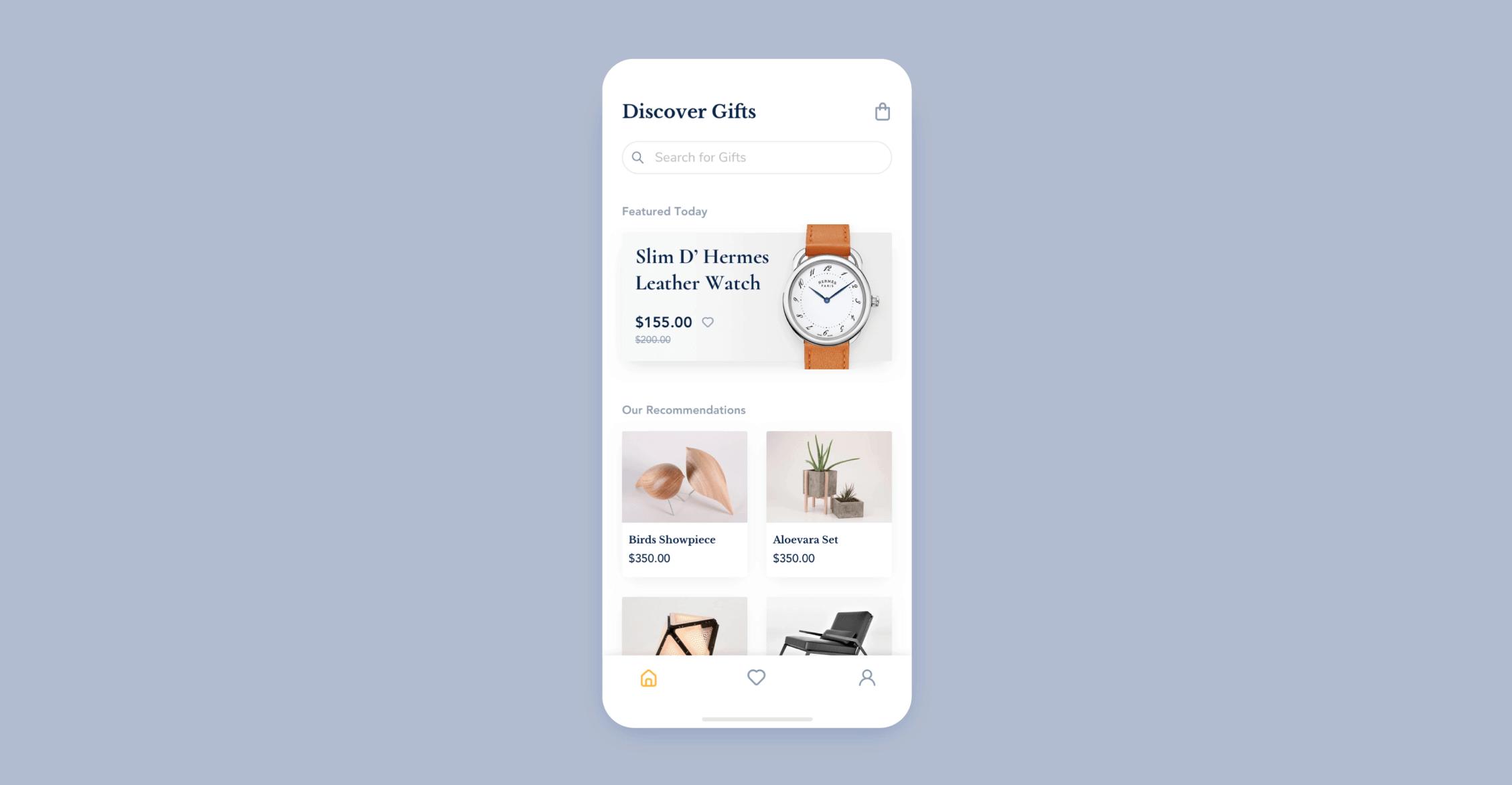 UI design for gift app